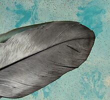 Feather on Blue Abstract Painting by angelandspot