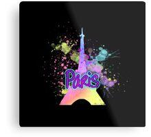 Paris Eiffel Tower Rainbow Paint Splatter           Metal Print