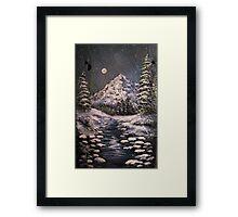 Midnight Winter Stream Framed Print