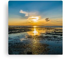 Summer sunset over the beach of Whitstable, Kent - Square Photo Canvas Print