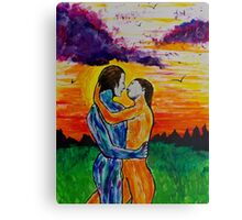 Eros and Psyche at sunset Canvas Print