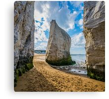 The lonely chalk stack on the beach of Botany Bay in Kent - Square Photo Canvas Print