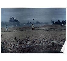 She grazed her ducks in a smoke filled paddock on a blue bali day 1987 Poster