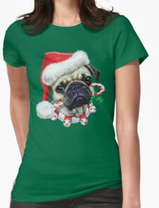 Puggy Christmas Womens Fitted T-Shirt