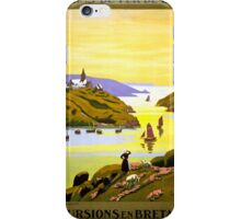 France Bretagne Vintage Travel Poster Restored iPhone Case/Skin