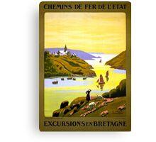 France Bretagne Vintage Travel Poster Restored Canvas Print