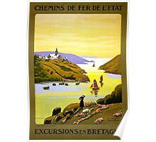 France Bretagne Vintage Travel Poster Restored Poster