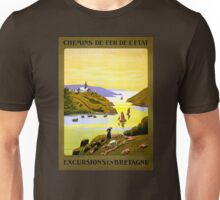 France Bretagne Vintage Travel Poster Restored Unisex T-Shirt