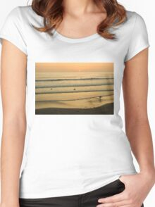 Californian Gold - Sunset, Beach, Waves and Surfers - Oh So California Women's Fitted Scoop T-Shirt