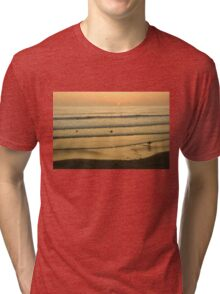 Californian Gold - Sunset, Beach, Waves and Surfers - Oh So California Tri-blend T-Shirt