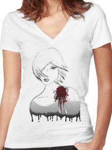 Ink girl Women's Fitted V-Neck T-Shirt