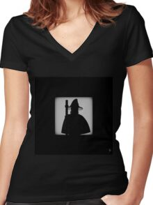 Shadow - The Grey Women's Fitted V-Neck T-Shirt