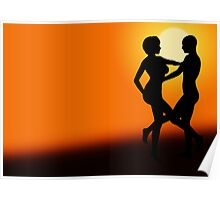 Romantic Sunset Dancing Couple Poster