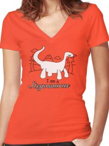 I am a Stegosaurus Funny Dinosaurs T-Shirt & Hoodie Women's Fitted V-Neck T-Shirt
