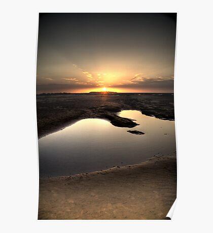 Hilbre Island Sundown Rays Poster