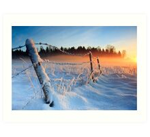 Warm cold winter sunset, Eesti looduskalender maastik Art Print