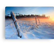 Warm cold winter sunset, Eesti looduskalender maastik Metal Print
