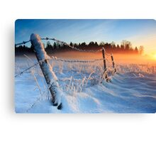 Warm cold winter sunset, Eesti looduskalender maastik Canvas Print