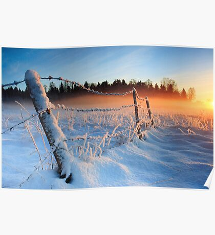 Warm cold winter sunset, Eesti looduskalender maastik Poster
