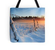 Warm cold winter sunset, Eesti looduskalender maastik Tote Bag