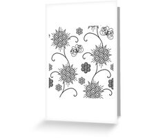 Black Abstract Flowers and Butterfly. Greeting Card