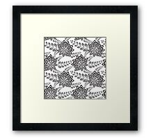 Black Abstract Flowers Framed Print