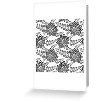 Black Abstract Flowers Greeting Card