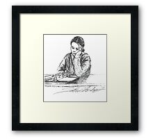 Debi study in pen Framed Print