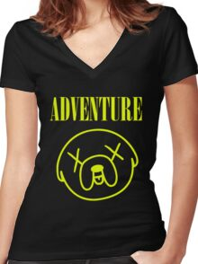 Jake Adventure Time Face Women's Fitted V-Neck T-Shirt