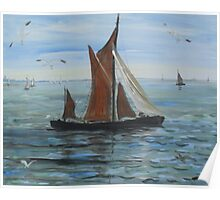 Sailing off Seasalter, Whitstable Poster