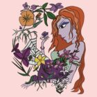 Young Woman In The Flowers T-Shirt by Fiona Lokot