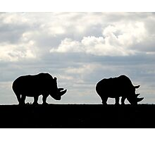 Rhino Silhouette Photographic Print