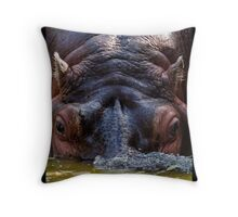 Thirsty Hippo Throw Pillow