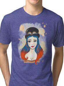 Blue and Orange Steampunk Tri-blend T-Shirt