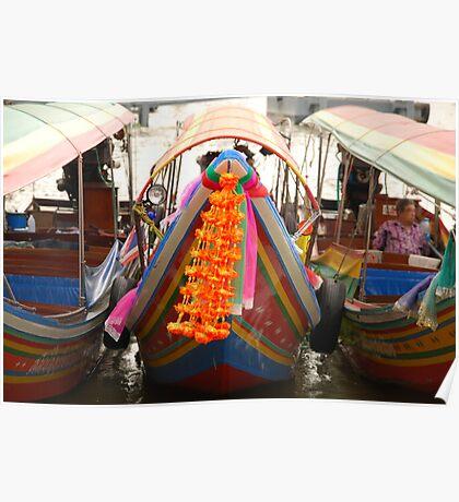 Boats on the Chao Praya River - Bangkok Poster