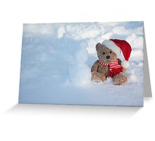 Bear making a Snowman Greeting Card