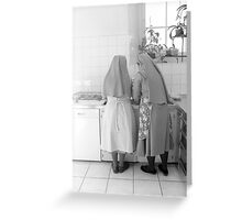 doing the dishes at the bishop's Greeting Card