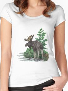 Moose watercolor  Women's Fitted Scoop T-Shirt