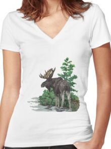 Moose watercolor  Women's Fitted V-Neck T-Shirt