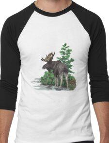Moose watercolor  Men's Baseball ¾ T-Shirt