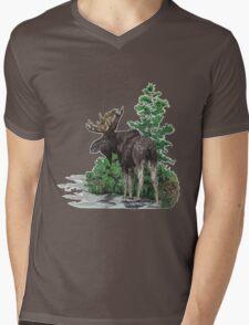 Moose watercolor  Mens V-Neck T-Shirt