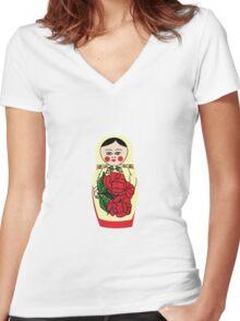 Russian matryoshka doll (yellow) Women's Fitted V-Neck T-Shirt