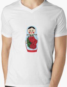 Russian matryoshka doll (blue) Mens V-Neck T-Shirt