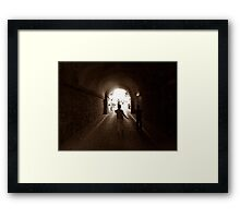 Walking to out of tunnel. Framed Print