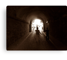 Walking to out of tunnel. Canvas Print