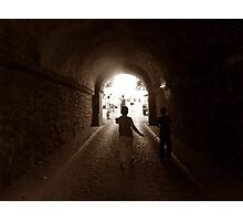 Walking to out of tunnel. Photographic Print