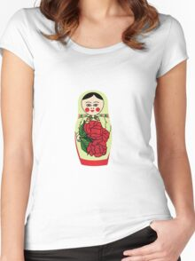 Russian matryoshka doll (green) Women's Fitted Scoop T-Shirt