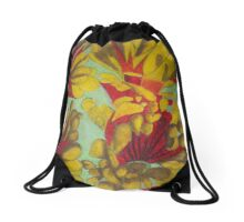Yellow Flowers Drawstring Bag