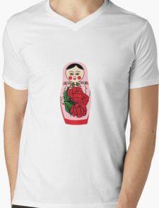 Russian matryoshka doll (red) Mens V-Neck T-Shirt