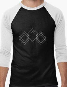 Lodent Logo (White on Black/Glitched) Men's Baseball ¾ T-Shirt